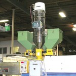 Three Color Feeders on injection molding machine