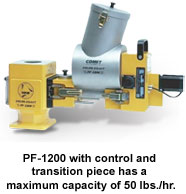 PF-1200 with control and transition piece has a maximum capacity of 50 lbs./hr.
